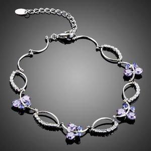 Purple Fashion Bracelet Swiss High Quality Cubic Zirconia Purple Bracelet