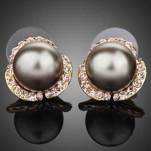 Grey Pearl Stud Earring Stellux Austrian Crystal  Pearl  Stud Fashion Earrings