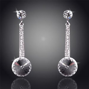 Costume Jewellery White Crystal Earrings Round 18K Silver Plated Drop Earrings