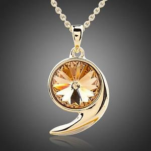 Gold Plated Champagne Stellux Austrian Crystal Jewelry Pendant Yellow Necklace