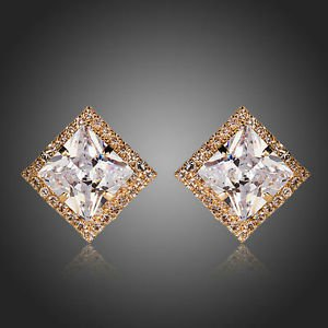 Big Cubic Zirconia Stud Earrings Square CZ Studs Wedding Bridal Earrings