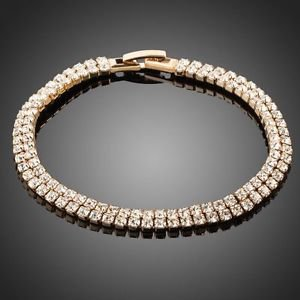 CZ Tennis Bracelet Rhinestone Gold  Plated Stellux Austrian Crystal Bracelet
