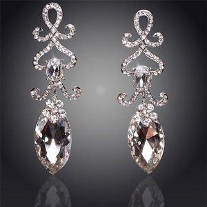 Crystal Chandelier Long Drop Earrings Bridal Chandelier Cubic Zirconia Earrings