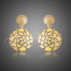 Yellow Fashion Earrings ROUND DROP EARRING 18K Gold Plated Jewelry