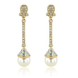 Wedding White Pearl Earrings Full Austrian Crystal Bridal Dangle Earrings