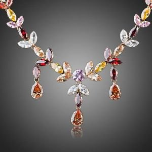 Unique Gold Plated Austrian Crystal Necklace and Earrings Wedding/Bridal Set