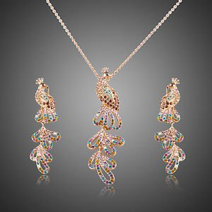 Rose Gold Plated Stellux Crystal Phoenix Wedding Bridal Necklace & Earrings  Set