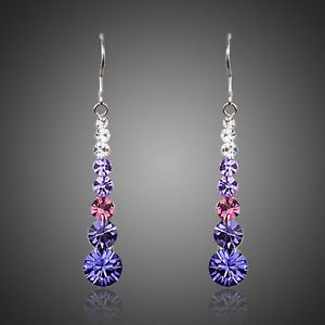 Purple Pink Long Drop Earrings Round Stellux Austrian Crystal Drop Earrings