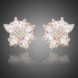 Rose Gold Bridal Stud Earrings Cubic Zirconia Wedding Vintage Flower Earrings