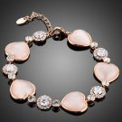 Rose Pink Fashion Bracelet Crystal  Cubic Zirconia  Pink  Rose Costume Bracelet