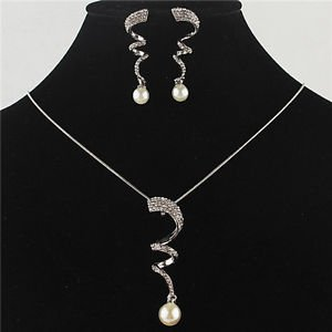 18k White Gold Plated Wavy Austrian Crystal Jewelry Sets Necklace&Earring Sets