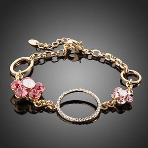 Fashion  Pink Bracelet Gold Plated Crystal Peach Flower Costume Charm Bracelet