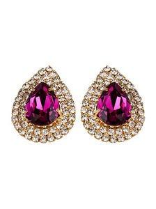 Rose Red Cubic Zircon Heart Stud Bright Pink Cubic Earrings Magenta StudEarrings