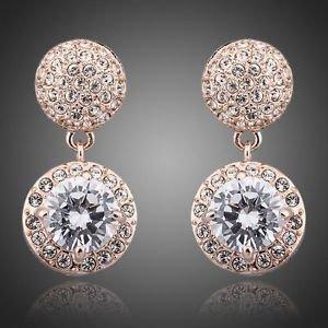 Rose Gold Bridal Earrings Cubic Zirconia  Austrian Rhinestone Wedding Earrings