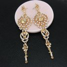 Bridal Gold  Chandelier Earrings Drop Bridal Champagne Pageant Crystal Earrings