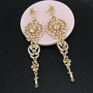 Bridal Gold  Chandelier Earrings Drop Bridal Champagne Pageant Crystal Earrings