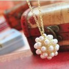 Pearl Bridal Wedding Bridal  Mock Pearl Clusters Pendant Necklace
