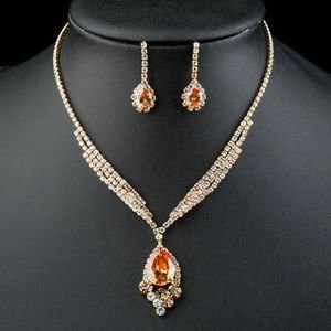 18K Gold Plated Champagne Gold Cubic Zirconia Fashion Necklace and Earrings Set