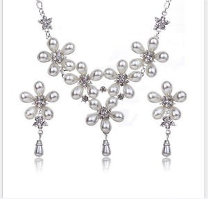 Wedding Jewelry Sets Vintage Pearl Flower Inlay Crystal Bride Jewelry Sets