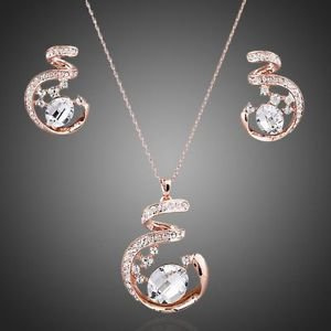 Rose Gold Jewellery Set Bridal Jewelry Set Wedding Necklace Earrings Cubic Set