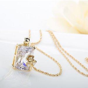 Glass Pendant Necklace, Bridal Jewelry Swiss Glass Cubic Zirconia Jewelry Set
