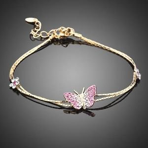 Real Gold Plated Austrian Crystal Butterfly Pink Charm Gold Chain Bracelet