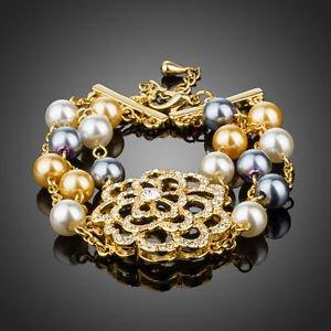 Sparkling Rhinestone Flower Statement 18K Gold Plated Colorful Pearl Bracelet
