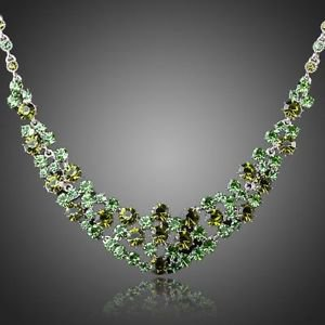 Green Statement Fashion Crystal Necklace Stellux Austrian Crystal Green Necklace