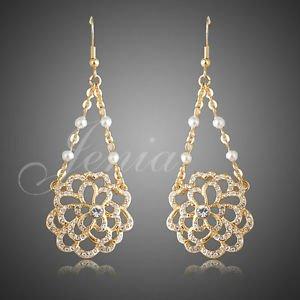 fashion Jewelry Gold Plated Austrian Rhinestone Chandelier Earrings with Pear