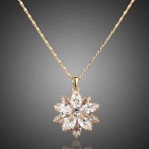 Champagne Pendant Necklace Austrian Crystal Lotus Flower Necklace Gold Pendant