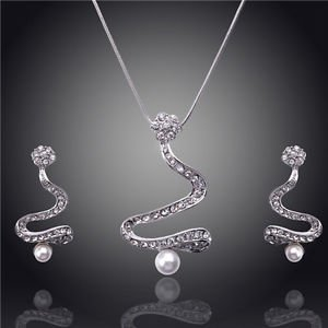 Necklace Pendant Jewelry Sets White Gold Plated Austrian Crystal Necklace Set