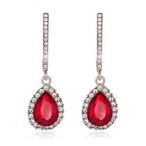 Red Drop Crystal Earrings Fashion Jewelry Vintage Cubic Zirconia Earrings