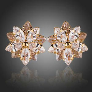 Elegant glamour18k Gold Plated Flower Quality Swiss Cubic Zirconia Stud Earrings