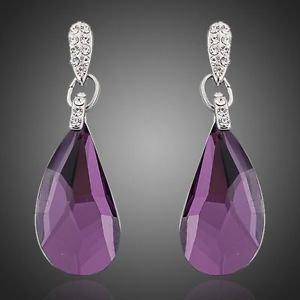 Purple Drop Earrings Austrian Crystal Fashion Costume Jewellery Drop Earring