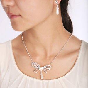 Crystal Pearl Drop Pendant Jewelry Set Necklace&Earrings Pearl Drop Earrings