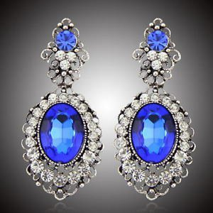 Vintage Blue Chandelier Earrings Drop Bridal Earrings Pageant Crystal Earrings