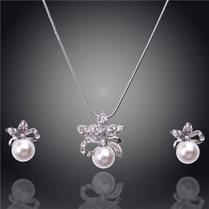 Bridal Pearl Jewelry Sets Pearl Necklace 18k Gold Plated Austrian Crystal Set