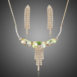 Gold Plated Green Austrian Crystal Earrings and Statement Necklace Jewlery set
