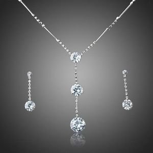 Crystal Bridal Set Cubic Zirconia Wedding Crystal Set Earrings & Necklace set