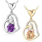 Purple Heart Pendant Necklace Clear Cubic Zirconia Pendant Fashion Necklace