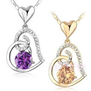 Purple Heart Pendant Necklace Clear Cubic Zirconia Pendant Fashion Necklace