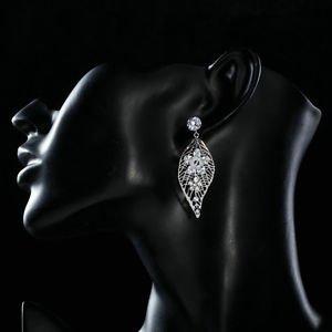 Crystal Chandelier Earrings Leaf Design Cubic Zirconia Long Drop Earrings