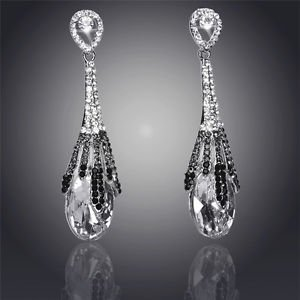 Fashion Earrings Chandelier Crystal Water Drop 18K Silver Plated Drop Earrings