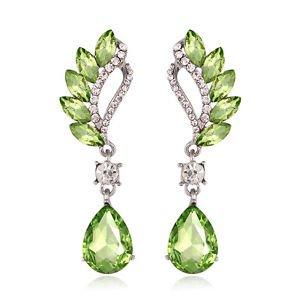 Green Drop Crystal Earrings Fashion Jewelry Vintage Cubic Zirconia Earrings
