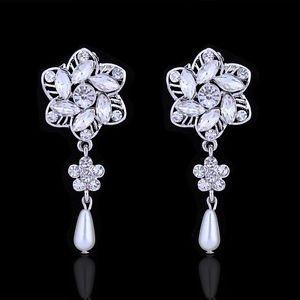 IvoryPearl Drop Earrings Vintage Crystal Pearl Bridal Earrings Wedding Earrings