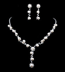 Bridal Pearl Necklace Silver Plated Austrian Crystal Bridal Pearl Jewelry Sets