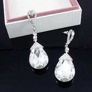 White Long Drop Earrings Stullux Pageant Earrings Crystal Long Drop Earrings