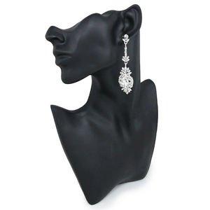 Bridal Chandelier Earrings Silver Long Drop CZ Bridal Earrings Pageant Earrings