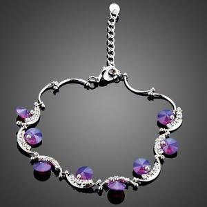 Purple Fashion Bracelet Crystal Purple Swiss High Quality Cubic Paved Bracelet