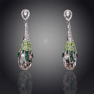 Fashion Earrings Green Crystal Water Drop Silver Plated Drop Dangle Earrings